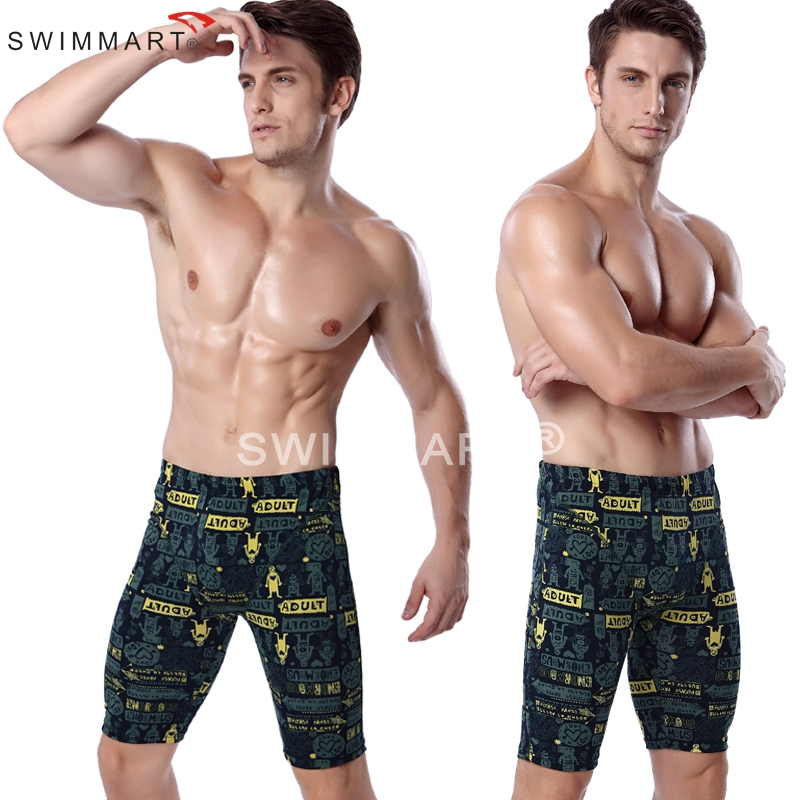 9b0984c831 Cartoon Adult Print Knee Length Swimming pants Fashion Men Lycra Swimming  Jammer