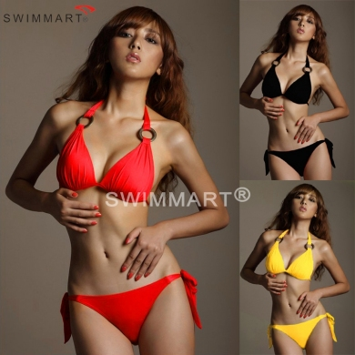 Ringed Neck Halter Push up Cup Women Bikini swimwear