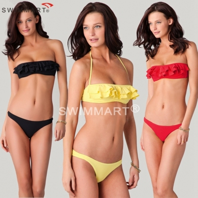 Flounced Bandeau Top Removable neck Halter Bottom Closured Women Sexy Bikinis