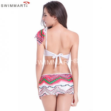 Transparent Stretch Mesh Layer Flounced Top Adjustable straps Removable Push up Lycra Bikini