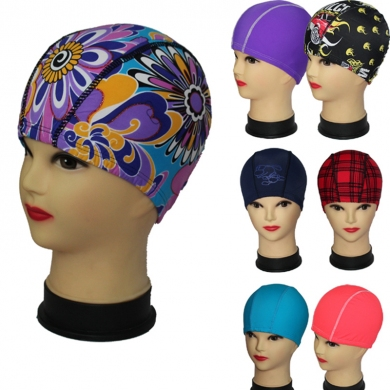 Hot Sales Promotion Random Solid Color n Print Unisex Nylon Lycra Composition Fabric Swim cap