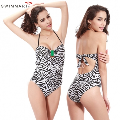 Hot Sales Buckled center Swimwear Zebra Push up One Piece Bathing suit for Women