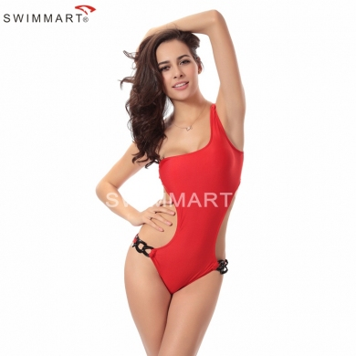 Hot Model Popular Design Acrylic Chain Sexy One Shoulder One pice cut out swimwear Monokini