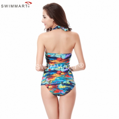 Classical Pattern Triangular Bottom neck tied Women's Bathing suit Tankinis