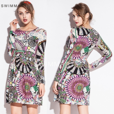 Fashion Print O neck Waist Wrinked One Piece Stretch Cotton dress