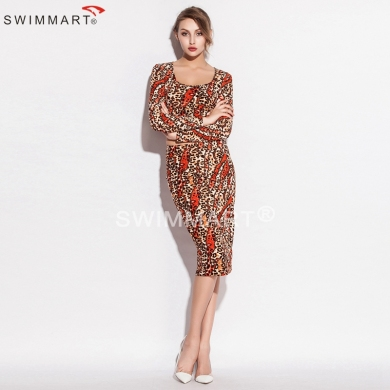 Slim Fit Pattern Two Pieces Stretch Cotton Leopard Sexy Women Tight dress