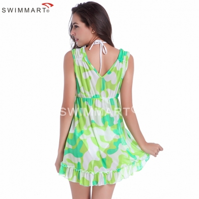Puckering - shoulder Ruffles - Hem V neck Camouflage Transparent Stretch Mesh Women's Beach Cover up dress