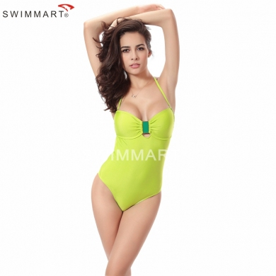 Sexy Women and Cute girls Nylon Fabric Buckled center Push up One piece Swimsuit