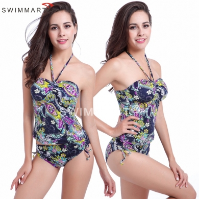 Vintage Prints Plump Looking Top High waist Adjustable waist - tie Women's swimwear Plus size Tankini