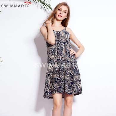 S.M.L.XL.2XL.3XL 2015 Casual Loose Pattern Adjustable shoulders Women Stretch Cotton Summer sleeveless dress