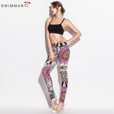 Spring Autumn Fashion Prints Stretch Cotton Fabric Sexy girls Leggings 7 Colors