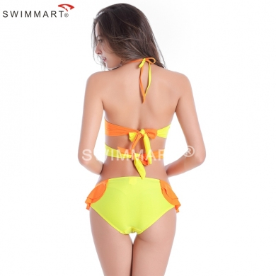 Small Flounced Bottom Underwired Cup Long Back Bandage Sexy Girls Bikini