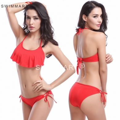 Feminine Flounce Top Strappy Halters Fashion Mature Women Sexy swimwear