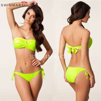 Bandeau Twist Top Removable neck Halter Sponge Push up Bandage Bikini