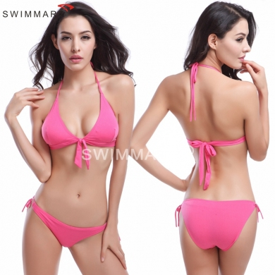 Removable padding Bowknotted Top Bandage Strappy Bikini