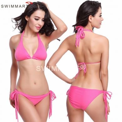 Long Halters Fully lined Removable Push up Padding Women Bikini swimwear