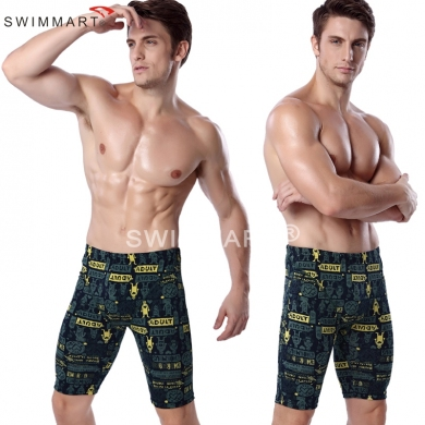 Cartoon Adult Print Knee Length Swimming pants Fashion Men Lycra Swimming Jammer
