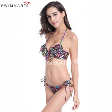 Cup underwired Adjustable Straps Lady Fringe Bikini swimsuits