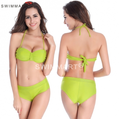 Scrunch Push up Top Patchwork Bottom Fully lined Women Swimwear Latest Design Bikini