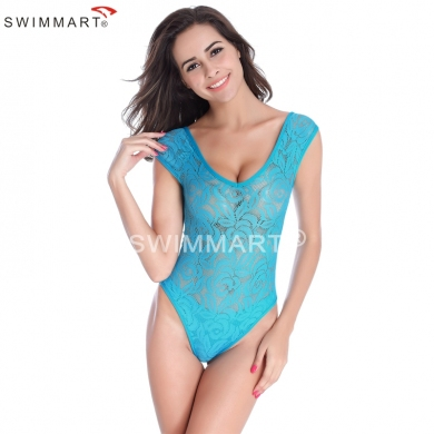 Bottom inLayer Transparent Lace monokini Girls One Piece swimsuit High Cut Women Sexy Bathing suits