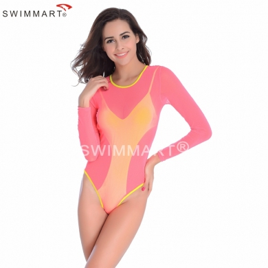 Stretch Mesh Layer Sunblock Sexy Bathing suit Swimsuit Hig Cut One Piece Swimwear for Women