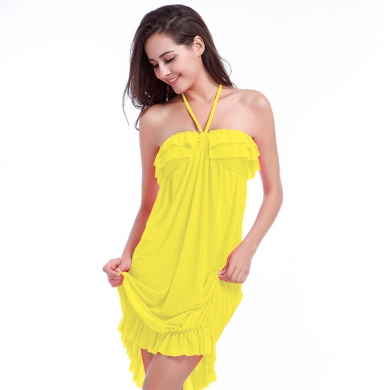 mini Ruffles Flounced Top with neck Halter Sexy Transparent Stretch Mesh Swimming Beach dress