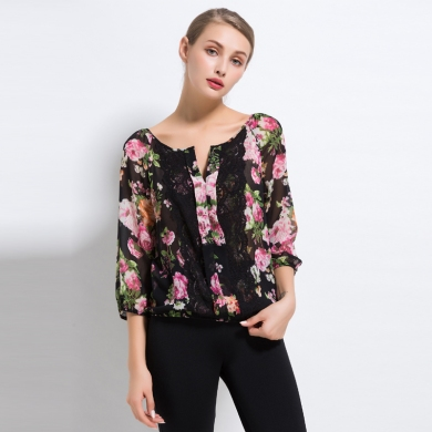 Excellent Original Order Qualitty Sexy Women Light Thin Transparent Three Quarter Chiffon Shirt for Summer Big Hibiscus