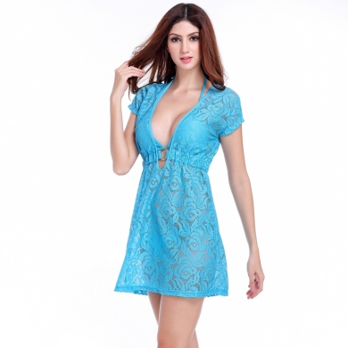 Ringed center Loose Pattern Women's Sexy Long transparent Lace Beach Dress Dropshipping