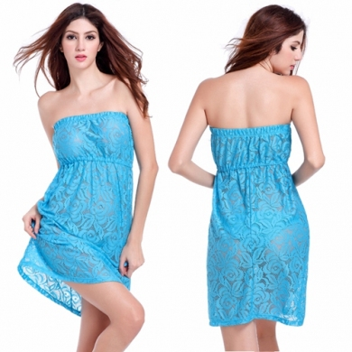 Feminine Strapless Large Women Plus size XXL Sexy Transparent Lace Cover up
