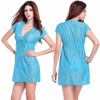 Deep V neck Adjustable tie Casual Large Female Big women Plus size Fat Lace Beach Cover ups