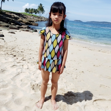 2018 Kids Girl Swimwear 8-12T Daughter Wrap Beachwear Children Swimsuit Toddler Teenage One Piece Bathing Suits