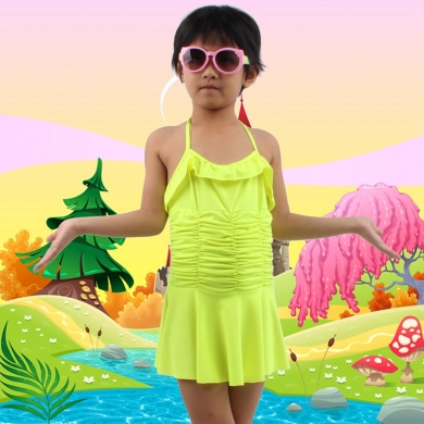 6-10T Child Swimsuit Wrap Beach Wears Cute Girl Swimming Bath Suits Toddler Swim Suit Kids Swimwear ...