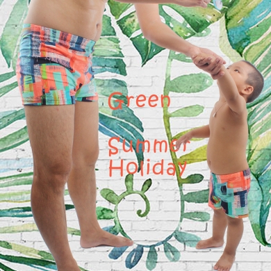 Lycra Fabric Parent Child Swimsuit Male Beachwear Bathing Suits Men Swimwear Family Matching Outfits Swimming Trunk