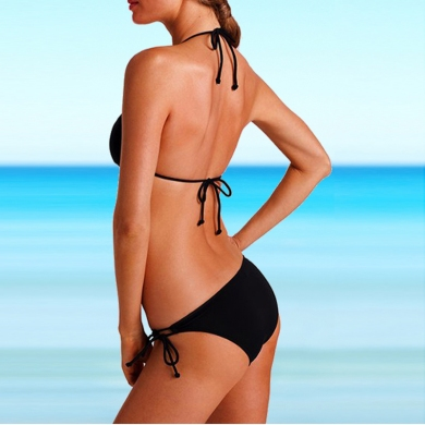 Hot Sales Promotion Very Cheap Classic Pattern adjustable Strappy Halters Women Bikini swimsuit